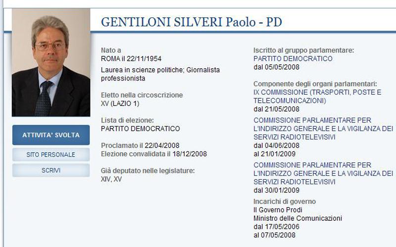 Paolo Gentiloni nella sua pagina di Camera.it