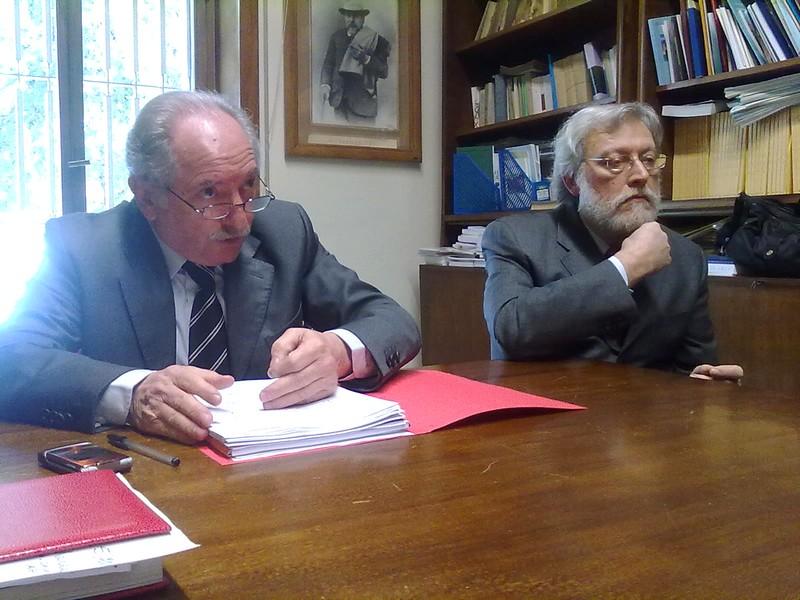 Il presidente dell'Ordine degli Avvocati di Ascoli, Francesco Marozzi, con il segretario del Consiglio dell'Ordine, Mauro Calvaresi il segretario del