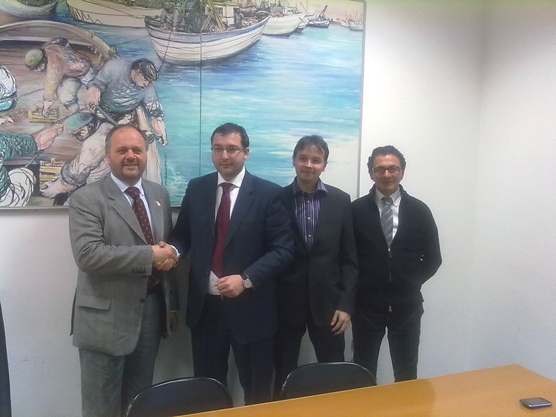 Giovanni Gaspari con i manager ceki della ZdB Group e l'imprenditore sambenedettese Giulio Domizi