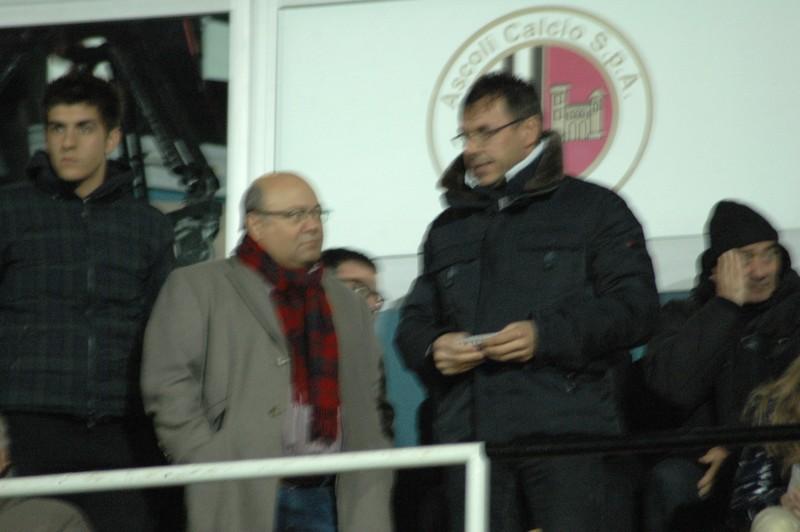 Bellini e Palatroni in tribuna durante Ascoli-Vicenza (foto Giammusso)