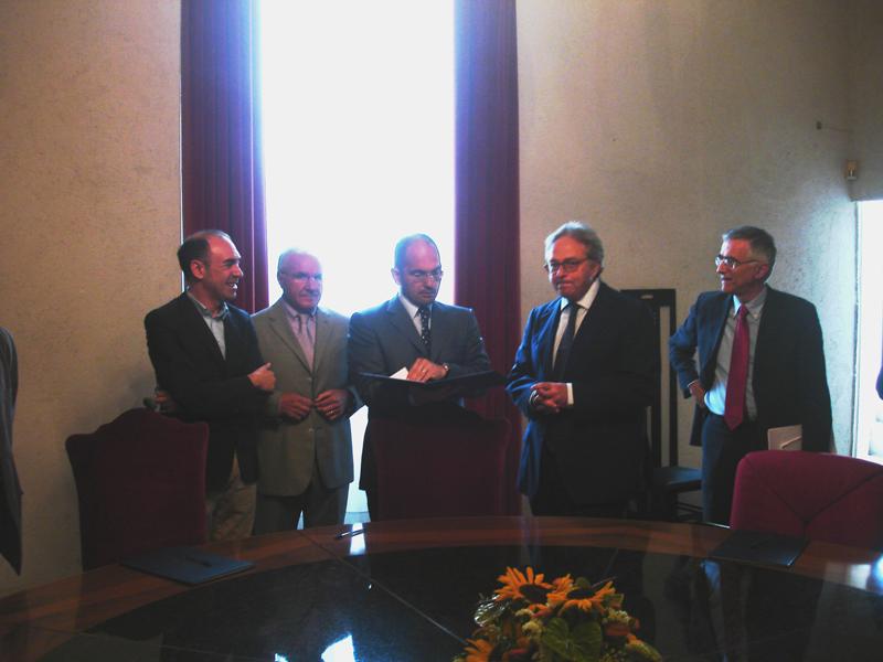 Donati, Faraotti, Castelli, Spacca e Canzian prima della firma del protocollo Restart Carbon Ascoli21