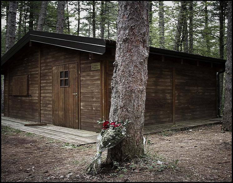 Il chiosco nel Bosco di Ripe, dove è stato trovato il corpo di Melania