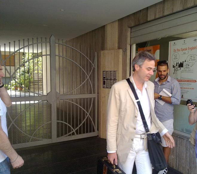 Guido Manocchio all'uscita dalla sede dell'Ascoli
