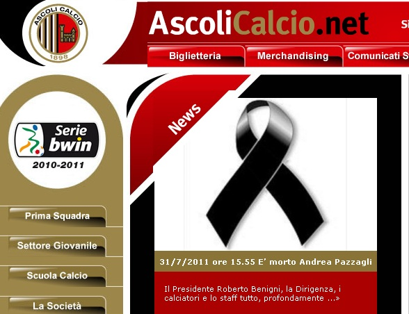 L'home page del sito ufficiale dell'Ascoli