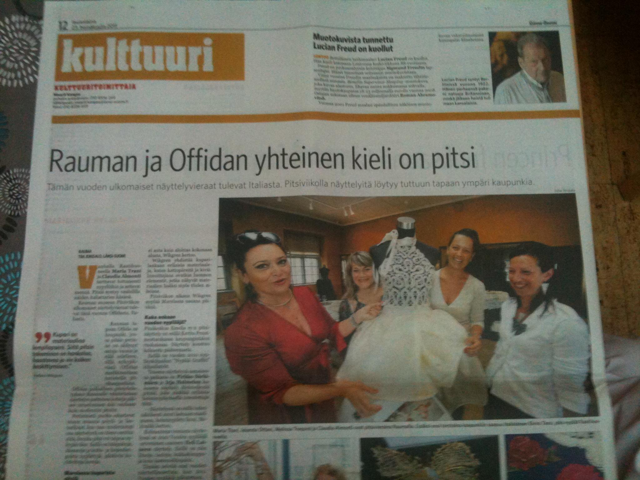 la stampa finlandese dedica ampio spazio al Merletto di Offida