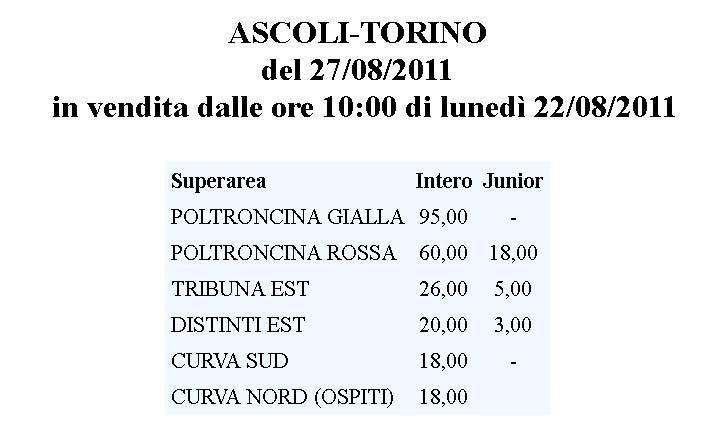 Caro biglietti, le tariffe di Ascoli-Torino