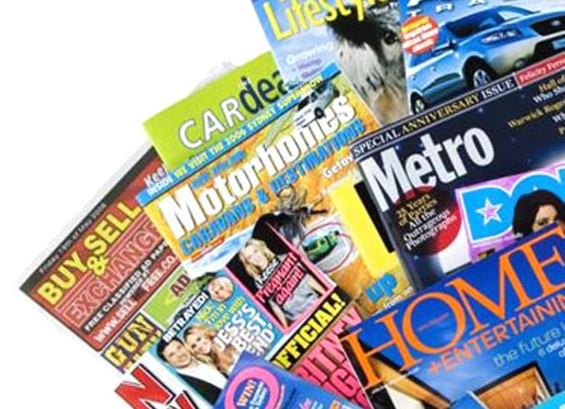 Collage di riviste italiane e estere