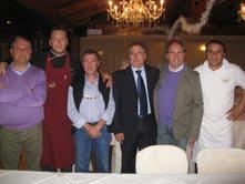 Cena degli Orti. Da sinistra: Stefano Salvatori, Nicola Cellini, Noris Rocchi, Angelo Canala, Giulio Ficcadenti e Dino Baldassarri