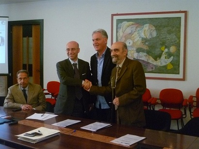 Da sinistra l'ingegner Carpanzano, il presidente Celani e il professor Andreani