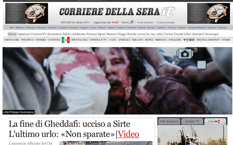 L'home page di Corriere.it con l'immagine di Gheddafi morto