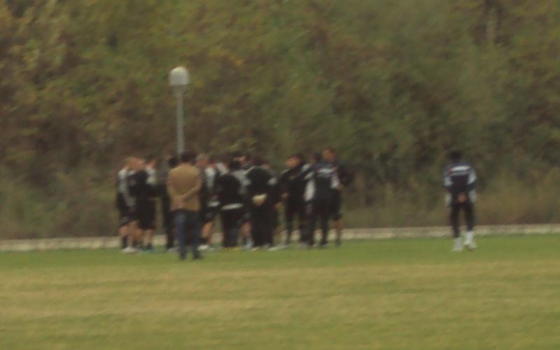 Giocatori dell'Ascoli durante l'allenamento del 2 novembre