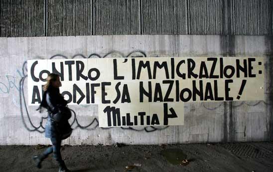 Una scritta del gruppo Militia (fonte: direttanews.it)