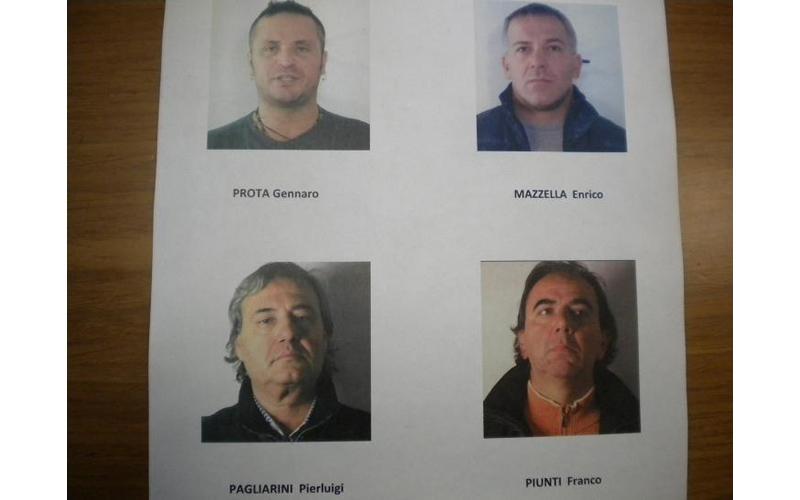 Operazione Dark Souls, i quattro arrestati, Gennaro Prota, Enrico Mazzella, Pierluigi Pagliarini e Franco Piunti
