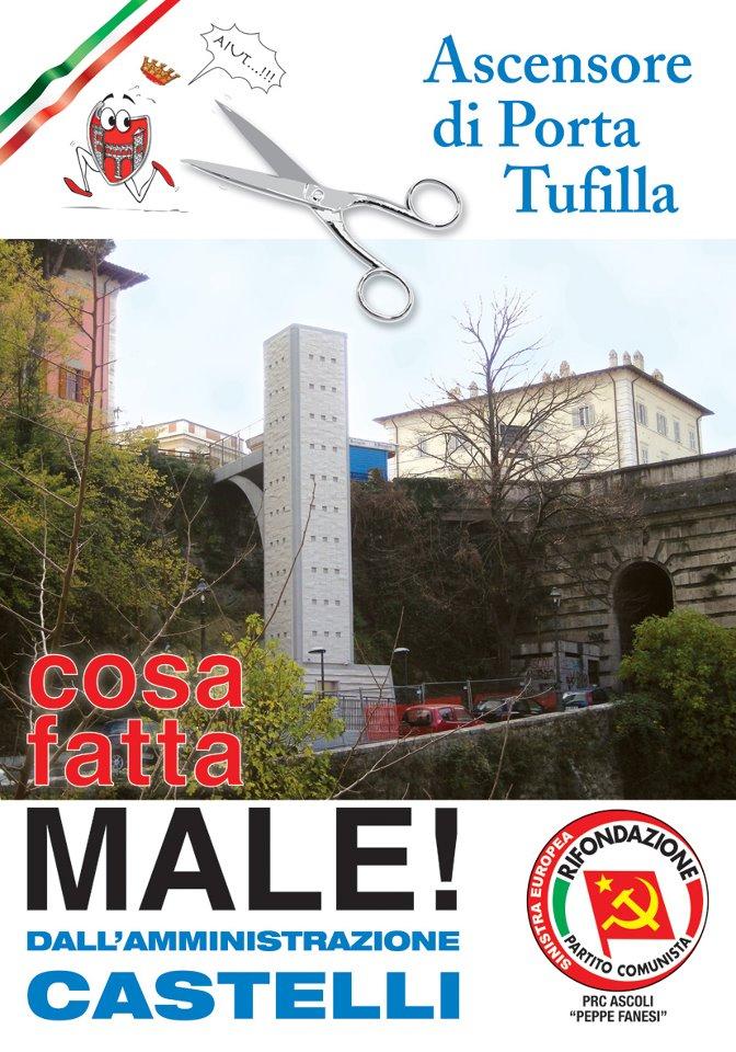 Il poster di Rifondazione contro l'ascensore di Piazza Giacomini