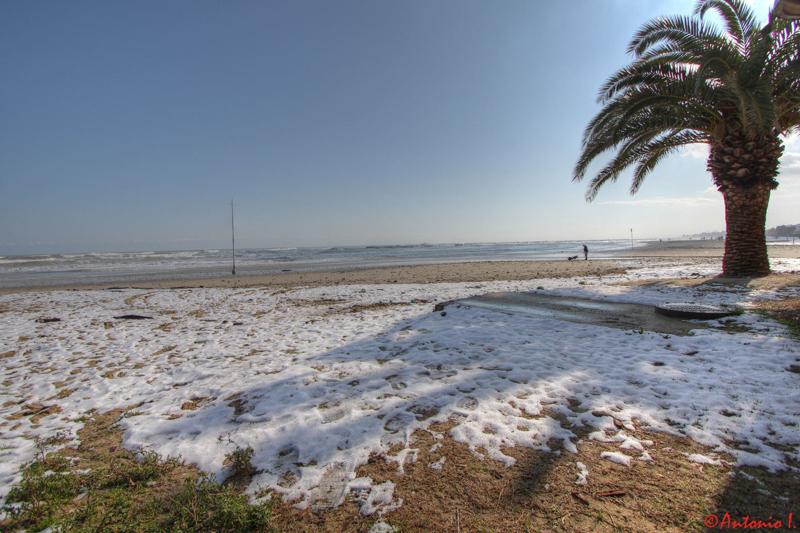 Foce albula, spiaggia libera. 12 febbraio 2012, la neve vista da Antonio I.
