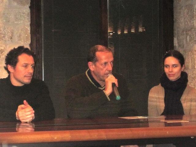 Il cast dell'Otello Furioso Stefano Accorsi, il regista Marco Baliani e l'attrice francese Nina Savary