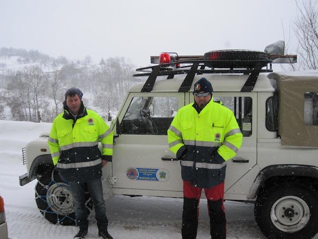 Due volontari della Protezione Civile di Arquata del Tronto