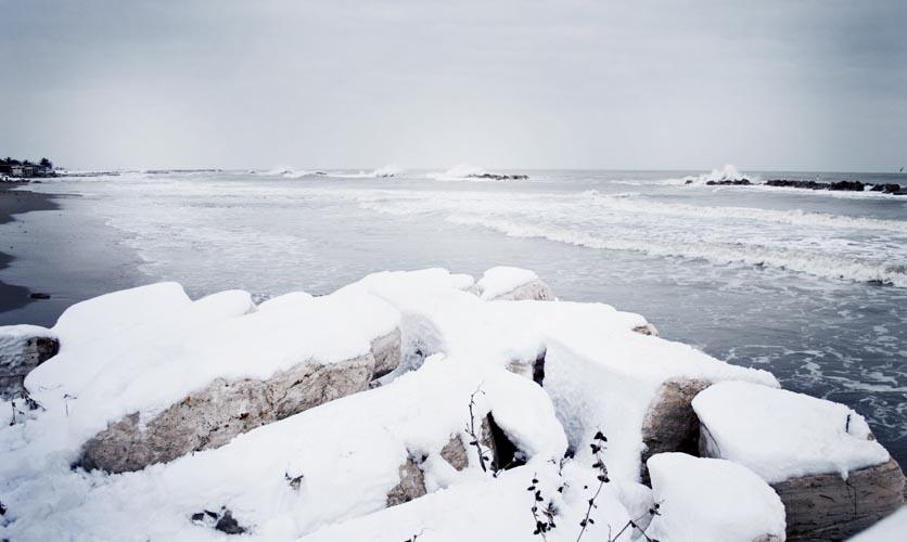 Neve sulla spiaggia di Martinsicuro, 4 febbraio 2012, Valeria Trasatti
