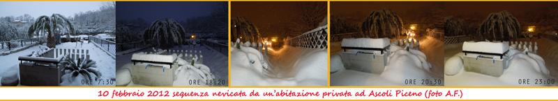 Foto Sequenza della nevicata del 10 febbraio 2012 , da un'abitazione privata di ascoli piceno. (foto A.F.)