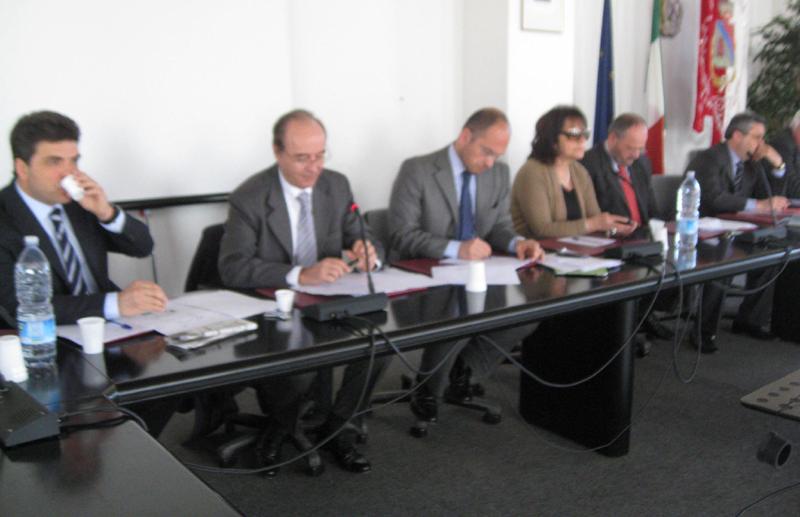 Da sinistra Giovanni Stroppa, Piero Ciccarelli, Guido Castelli, Patrizia Rossini e Almerino Mezzolani