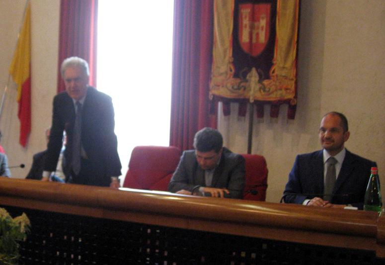 Da sinistra, Piero Celani, Giovanni Stroppa e Guido Castelli