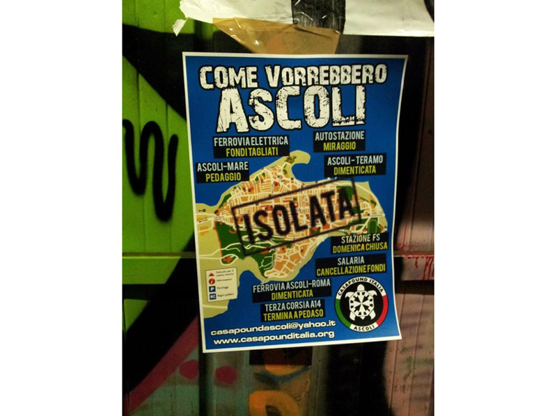 Volantino di CasaPound affisso alla stazione di Ascoli