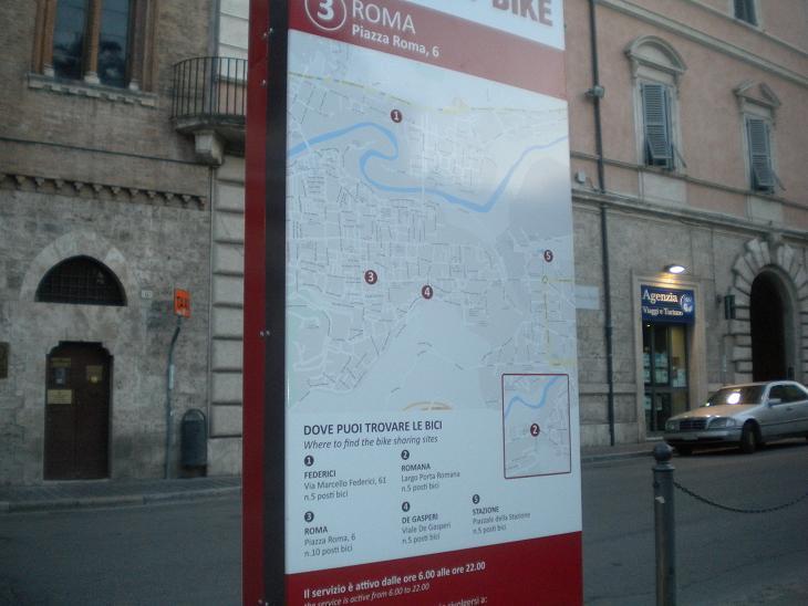 La mappa con le 5 stazioni di Bike Sharing
