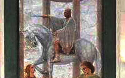 Il quadro di Aldo Castelli raffigurante Mussolini esposto nell'Aula Magna dell'Itgc Umberto I°