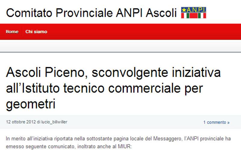 L'home page dell'Anpi in merito all'esposizione del dipinto di Aldo Castelli all'istituto Geometri Umberto I°