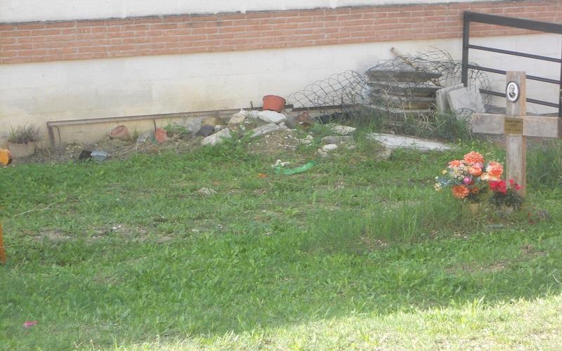 Cimitero: detriti abbandonati vicino ad una tomba