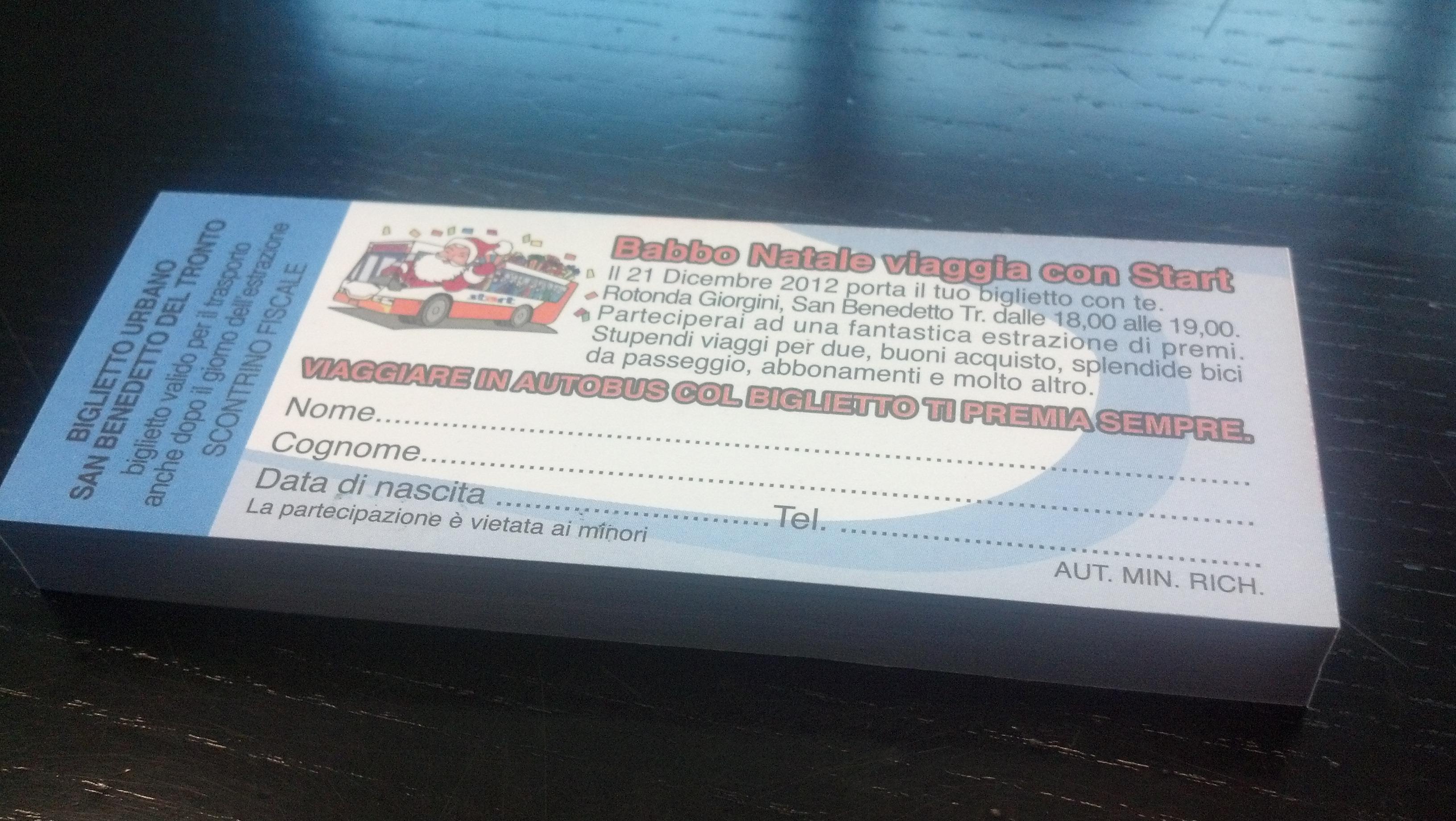 Il biglietto per il concorso natalizio della Start. Questo è il biglietto che sarà venduto a San Benedetto (retro)