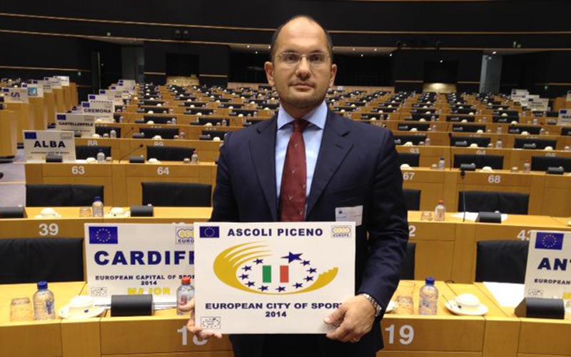 Guido Castelli a Bruxelles insignito del premio Ascoli Città europea dello Sport 2014
