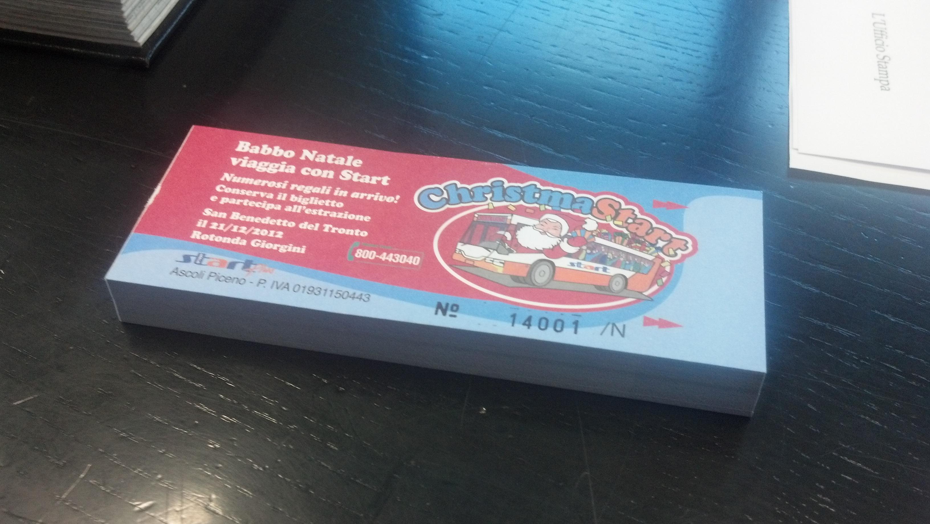 Il biglietto per il concorso natalizio della Start. Questo è il biglietto che sarà venduto a San Benedetto