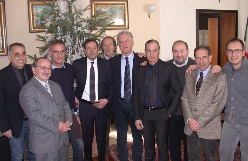 Il presidente Celani e la maggioranza a Palazzo San Filippo