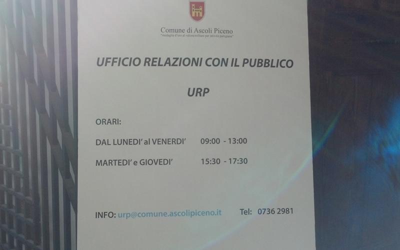 Inaugurazione Urp, gli orari