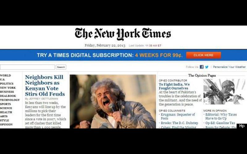 Beppe Grillo sul New York Times