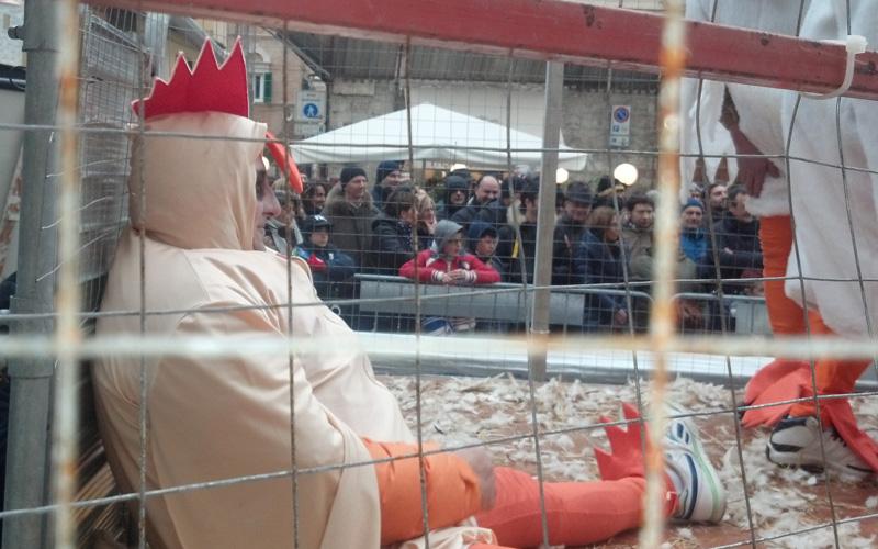 Carnevale ascolano 2013, la tristezza della gallina in piazza Simonetti