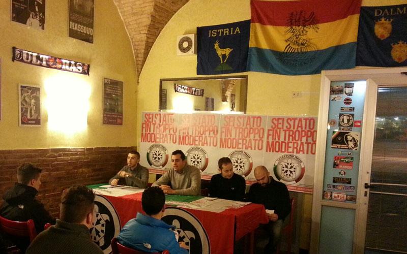 Casapound presente il programma, da sinistra Fabio Di Nicola, Giorgio Ferretti, Dario Orsini, Giuseppe Bartolini