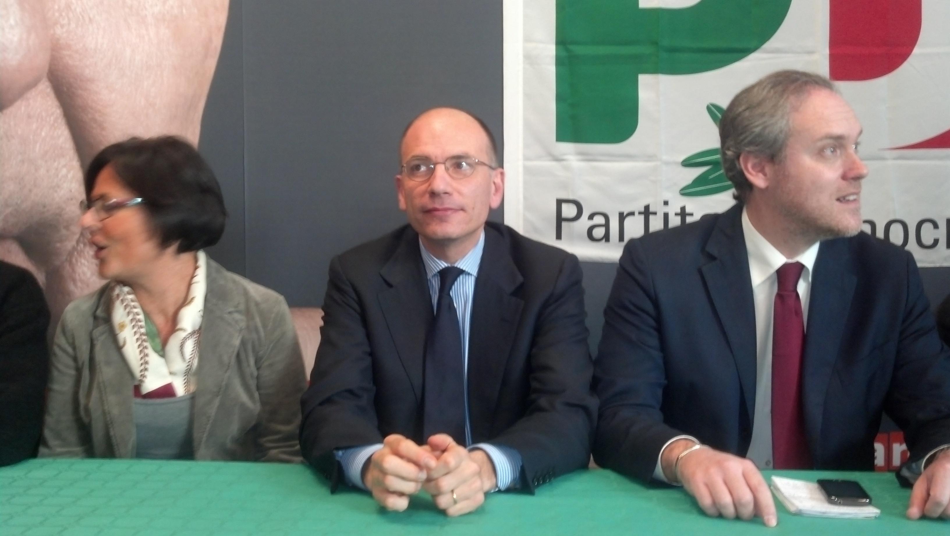 Enrico Letta tra Anna Casini e Antimo Di Francesco