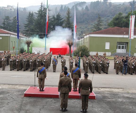 Caserma Emidio Clementi, 1° febbraio 2012 - I soldati cantano l'inno nazionale