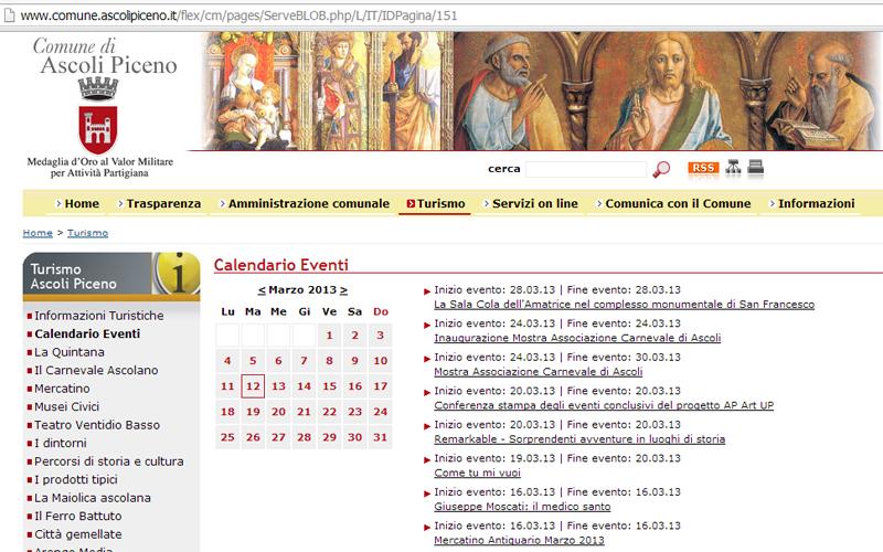 La pagina degli eventi del comune di Ascoli Piceno