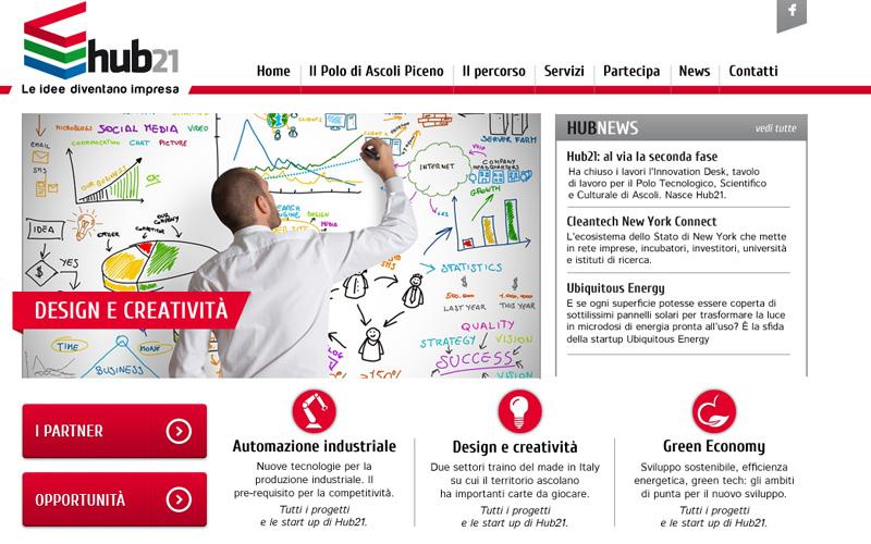 L'home page di Hub21
