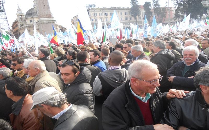 Piazza del Popolo, durante il comizio