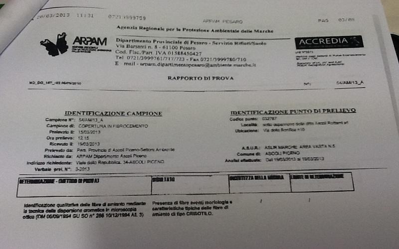 Risultati analisi Arpam-Pesaro