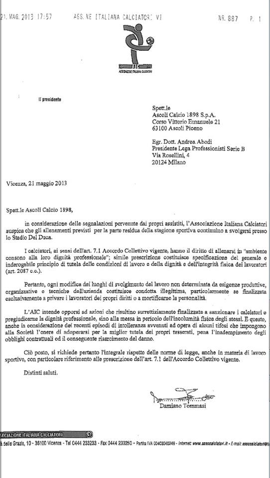 Il fax che contiene il comunicato dell'Aic