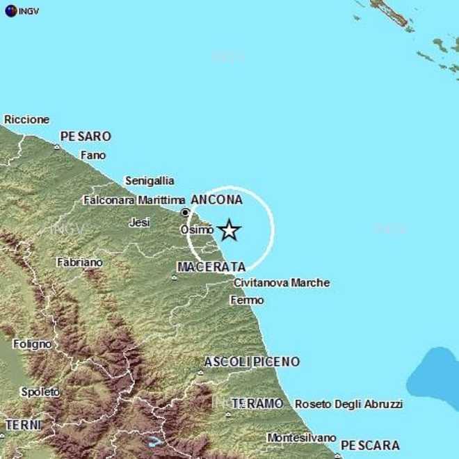 Terremoto di 4,9 davanti alla costa del Conero
