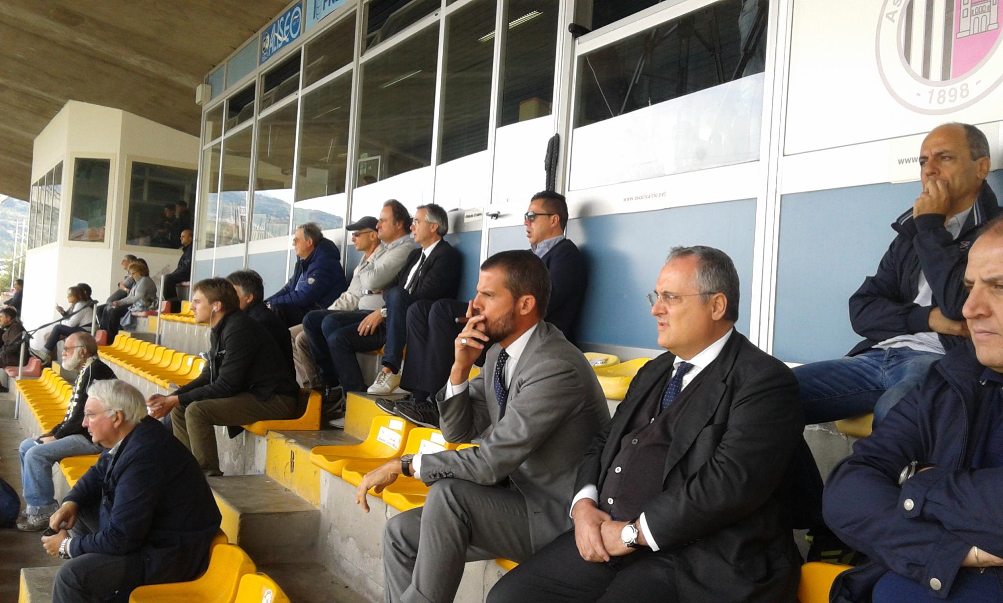 I presidenti: Lotito e Mezzaroma, sullo sfondo Manocchio