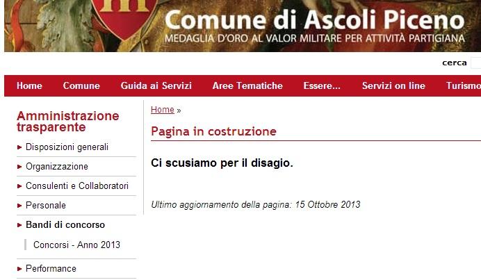 Il sito del Comune di Ascoli e le scuse per le pagine non ancora pronte