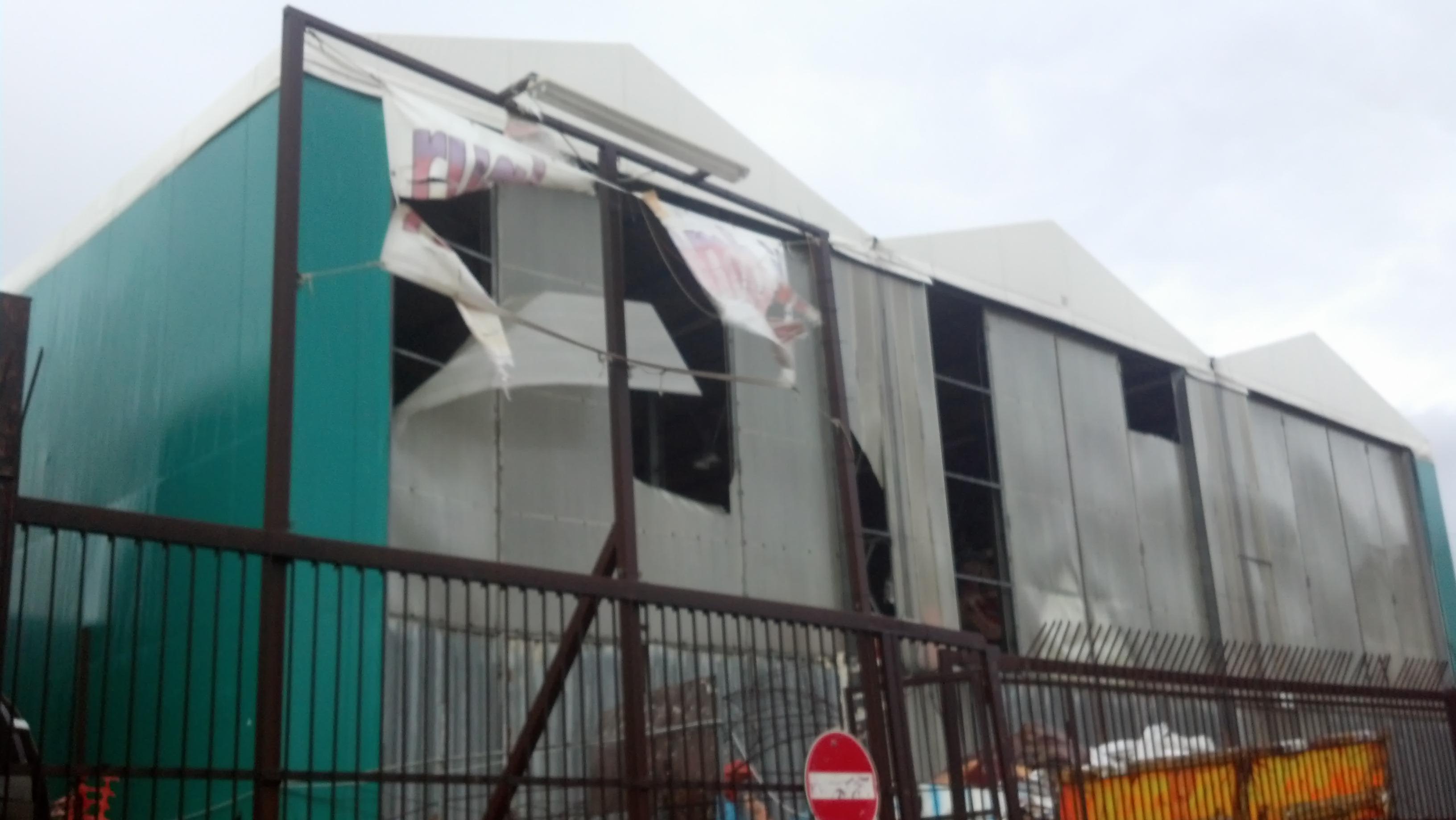 Ciclone Venere, al Ballarin danni ai capannoni del Carnevale
