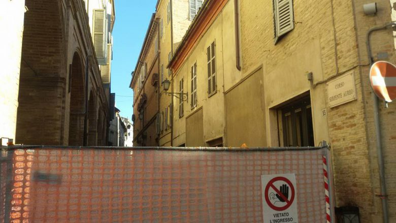Offida, strada chiusa nel centro storico